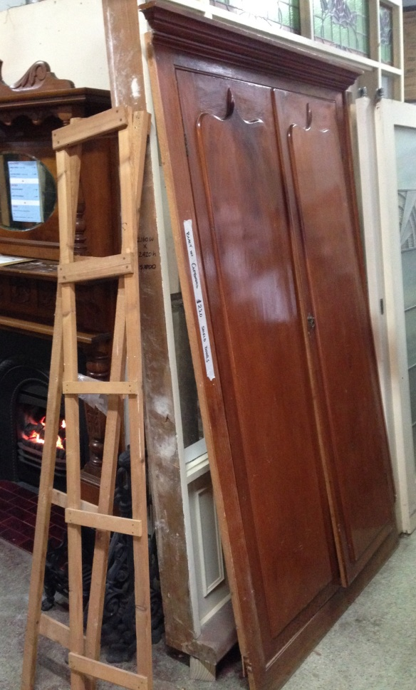 Built in cupboard with shield doors h2150 x w1310mm $220 salvage recycled demolition, reproduction restoration, renovation, collectable, secondhand, used, original, old, reclaimed heritage, antique restored