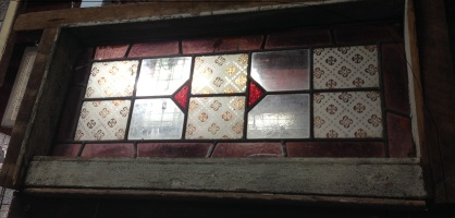 Leadlight window in frame, glass panel dimensions 285 x 720mm $220 salvage recycled demolition, reproduction restoration, renovation, collectable, secondhand, used, original, old, reclaimed heritage, antique restored stained glass