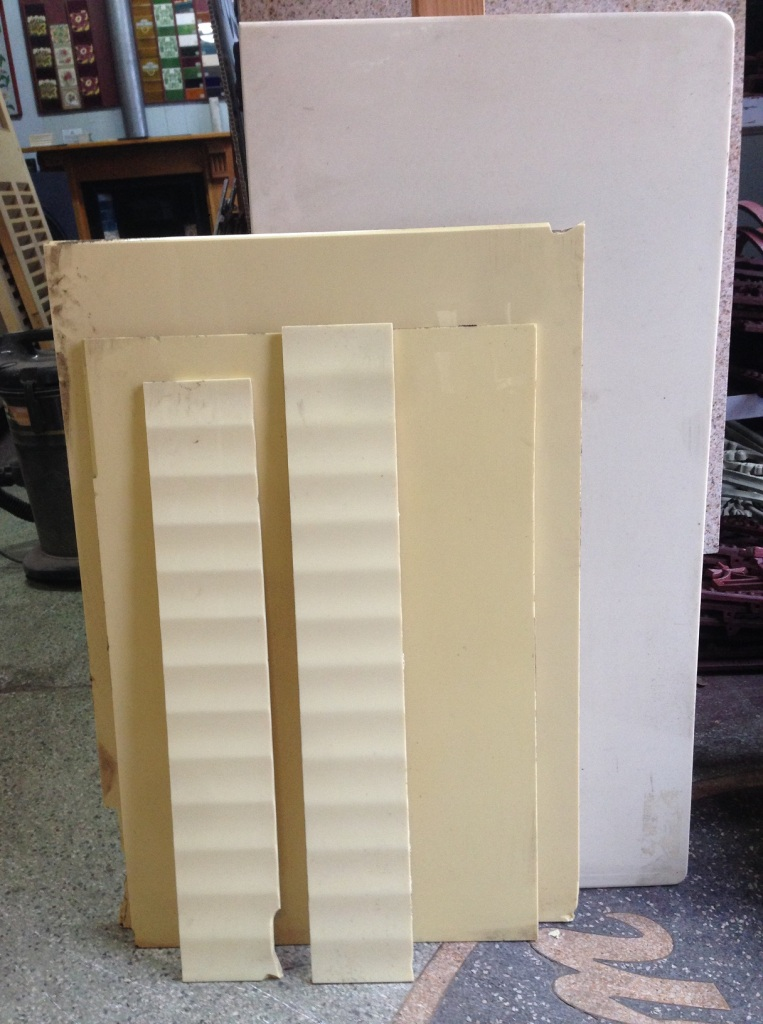 Vitrolite glass panels, 1920s pale yellow wall glass used for splashbacks, panel size up to 1080 x 460mm $100 for the lot salvage recycled demolition, reproduction restoration, renovation, collectable, secondhand, used, original, old, reclaimed heritage, antique