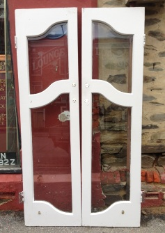 """Lounge pub doors original, etched glass """"Lounge"""" w1105 x h2025mm $660 salvage recycled demolition, reproduction restoration, renovation, collectable, secondhand, used, original, old, reclaimed heritage, antique"""
