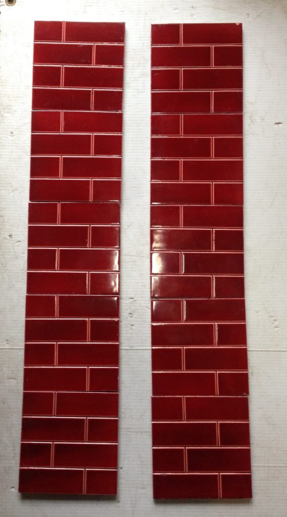 original tile set for fire place , brick pattern in dark burgundy OTB salvaged recycled demolition, reproduction, restoration, renovation,collectable, secondhand, used , original, old, reclaimed, heritage, antique, victorian, edwardian, georgian art nouveau ceramic arts and crafts decorative aesthetic