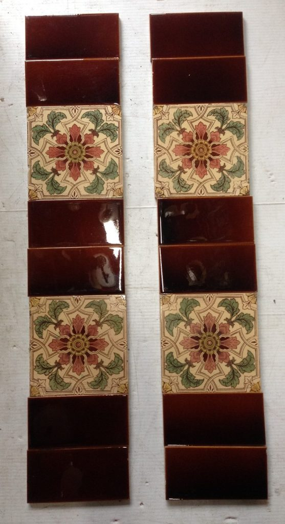 original fire place tiles , each side consists of 2 picture tiles and 6 plain half tiles, $ 160 the set OTB salvage recycled demolition, reproduction restoration, renovation, collectable, secondhand, used, original, old, reclaimed heritage, antique restored