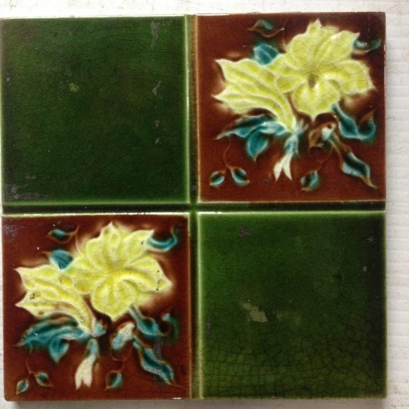 original fireplace tile set, 5 picture tiles each side , $ 250 the set OTB salvaged recycled demolition, reproduction, restoration, renovation,collectable, secondhand, used , original, old, reclaimed, heritage, antique, victorian, edwardian, georgian art nouveau ceramic arts and crafts decorative aesthetic