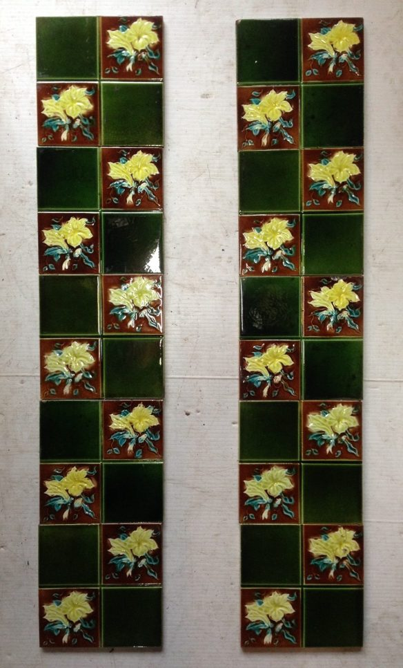 original fireplace tile set , 5 picture tiles each side , 10 in total $250 the set OTB salvaged recycled demolition, reproduction, restoration, renovation,collectable, secondhand, used , original, old, reclaimed, heritage, antique, victorian, edwardian, georgian art nouveau ceramic arts and crafts decorative aesthetic
