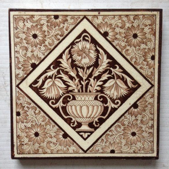 Original English Minton fireplace tiles c 1882. Deep brown on cream/buff base, Pair $140 WS