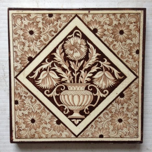 Original English Minton fireplace tiles c 1882. Deep brown on cream/buff base, Pair $140 WS