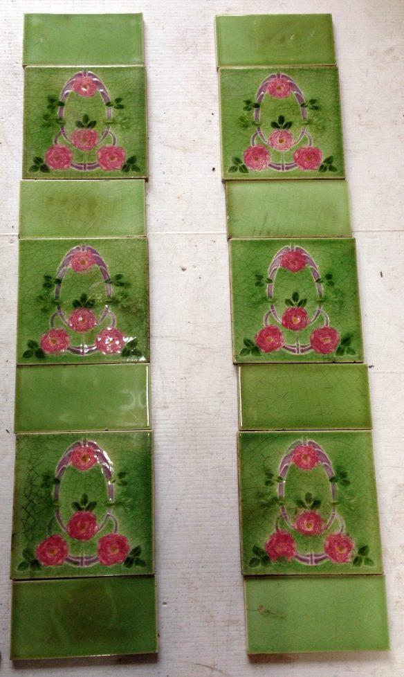 original tile set for fireplace , 3 picture tiles and 4 plain half tiles per side , $190 the set , OTB salvage recycled demolition, reproduction restoration, renovation, collectable, secondhand, used, original, old, reclaimed heritage, antique restored