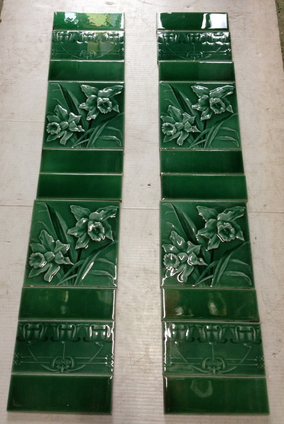 Original fireplace tiles , 2 picture tiles and 6 plain half tiles per side , $160 the set OTB salvage recycled demolition, reproduction restoration, renovation, collectable, secondhand, used, original, old, reclaimed heritage, antique restored