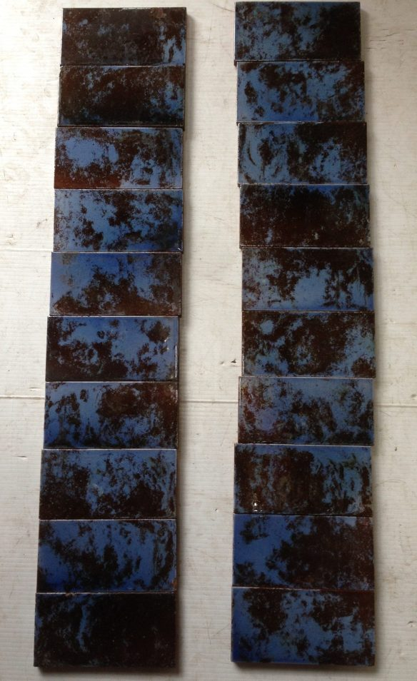 set of 20 mottled blue tiles to suit fire place, $ 150 the set . Set 27 salvage recycled demolition, reproduction restoration, renovation, collectable, secondhand, used, original, old, reclaimed heritage, antique restored