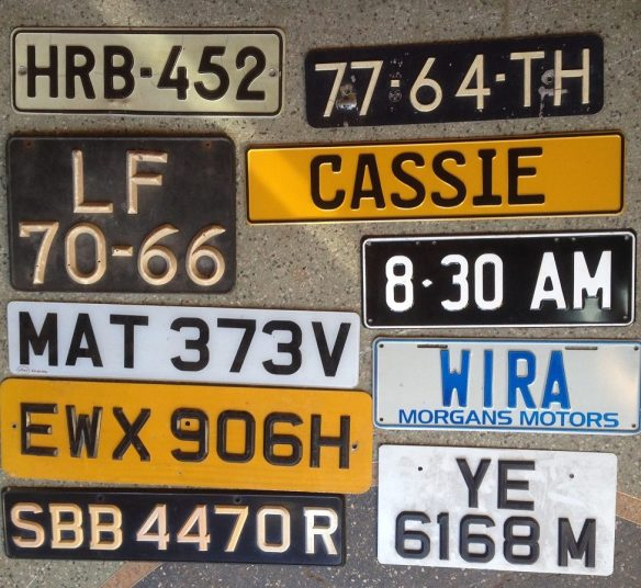 Number plates - mostly UK, Euro, Hong Kong, NZ, Singapore, Show plates $10 each salvage recycled demolition, reproduction restoration, renovation, collectable, secondhand, used, original, old, reclaimed heritage, antique
