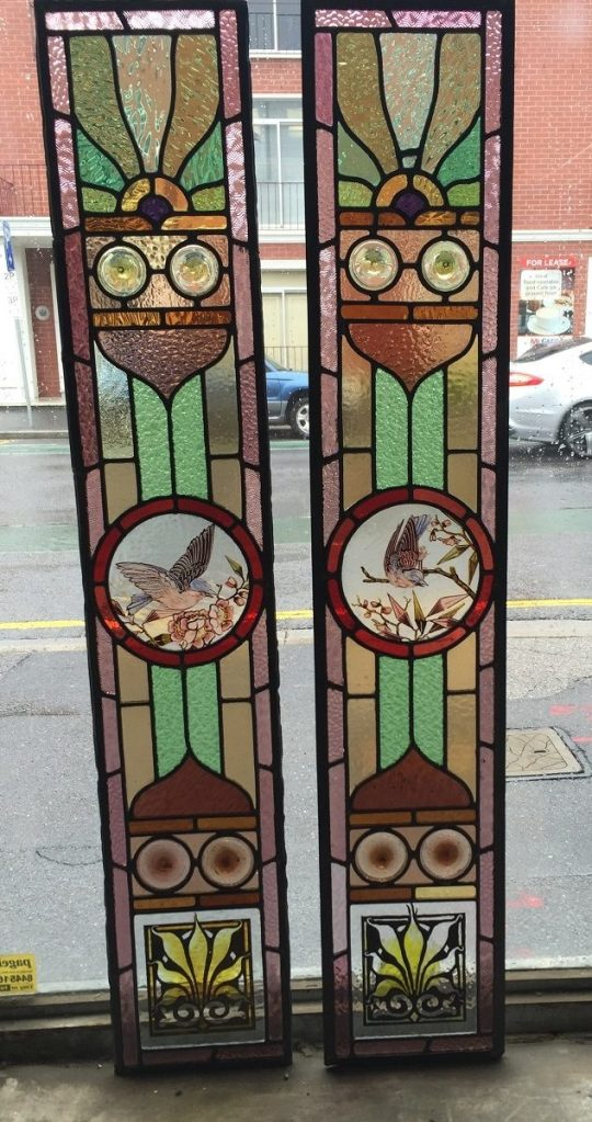 original hand painted leadlight side panels $440 each panel salvage recycled demolition, reproduction restoration, renovation, collectable, secondhand, used, original, old, reclaimed heritage, antique
