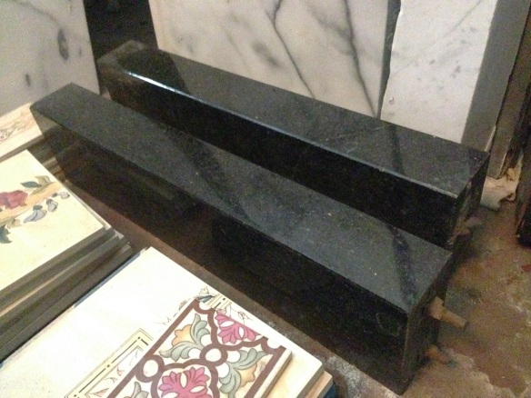 Polished black granite firplace fender/kerb d405 x w1375 $220 (only ends shown) salvage recycled demolition, reproduction restoration, renovation, collectable, secondhand, used, original, old, reclaimed heritage, antique