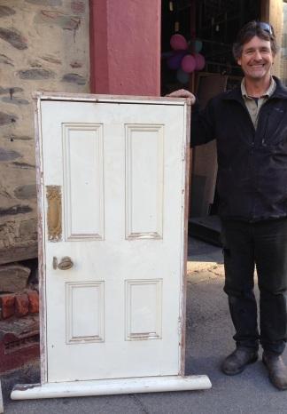 Miniature Victorian era four panel door in frame w730 x h1410mm $440