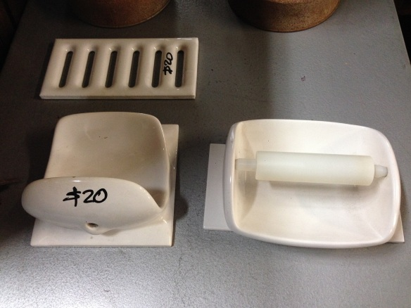 White ceramic bathroom accessories - vent, toilet roll dispenser, soap holder $20 each salvage recycled demolition, reproduction restoration, renovation, collectable, secondhand, used, original, old, reclaimed heritage, antique restored