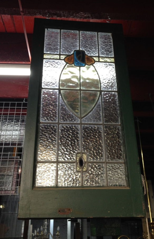 Original leadlight window, amber, yellow and blues, frame 975 x 480mm, glass 815 x 375mm, $275 salvage recycled demolition, reproduction restoration, renovation, collectable, secondhand, used, original, old, reclaimed heritage, antique restored stained glass