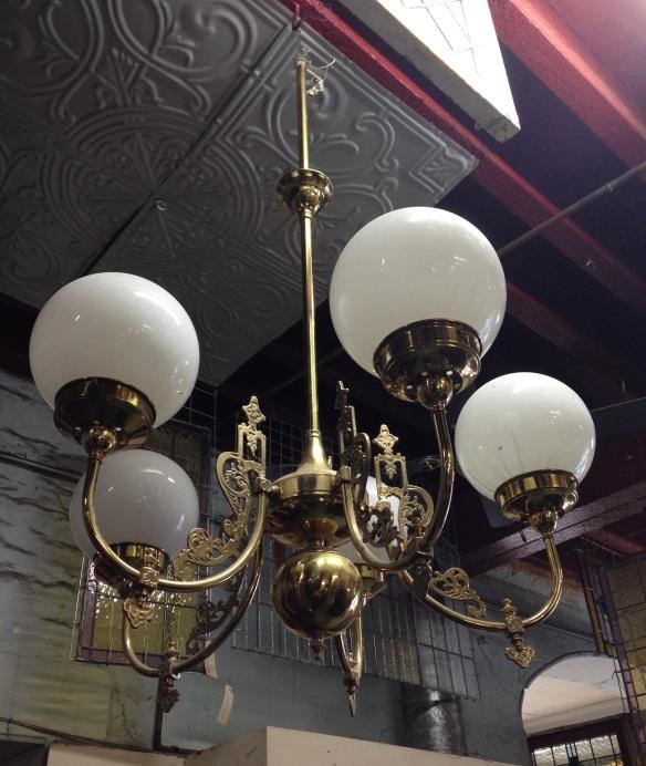 Ornate brass 5 branch pendant light, white shades, approx. diameter 800mm $550