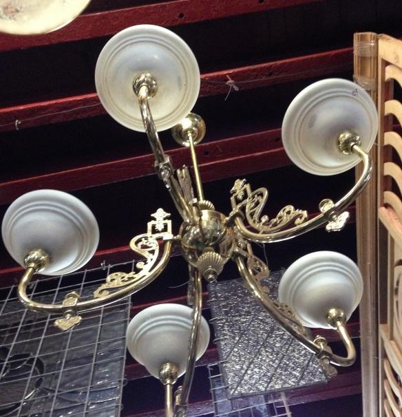 Ornate brass 5 branch pendant light, approx. diameter 800mm $425