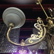 Ornate brass 5 branch pendant light (detail) approx. diameter 800mm $425