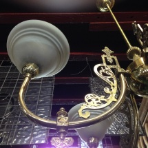 Ornate brass 5 branch pendant light (detail) approx. diameter 800mm $425