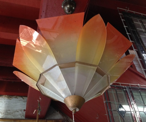original Art Deco ceiling light, orange, yellow to white glass panels $280