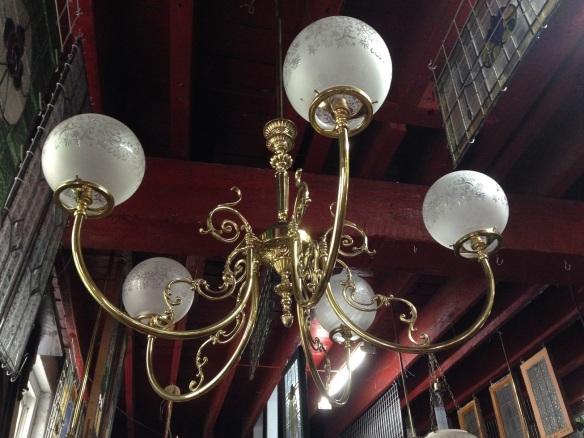 Brass 5 branch pendant light , large span approx. diameter 1.1m $550