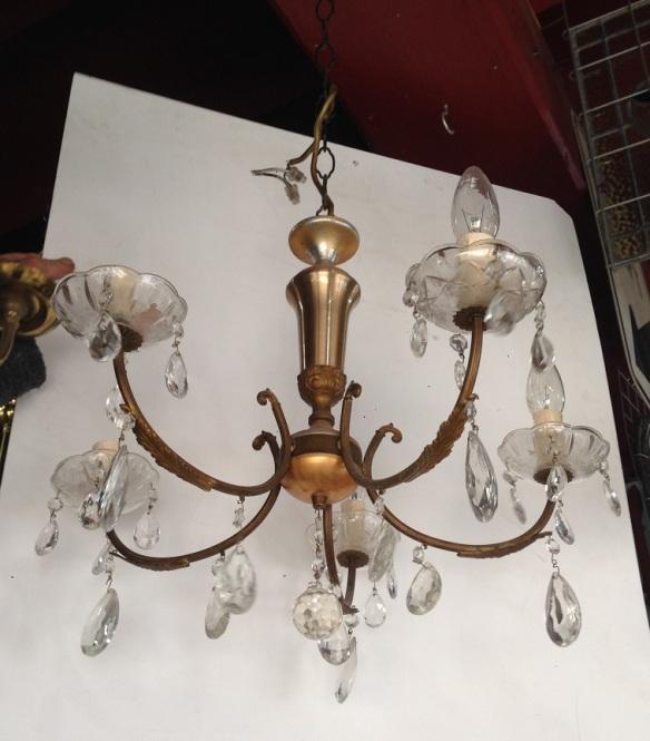 Five pendant light, fine brass arms, glass chandelier drops approx. diam 450mm
