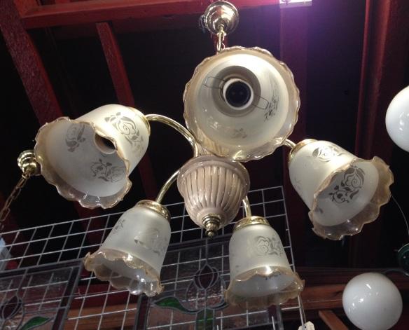 5 pendant light,glass shades $40