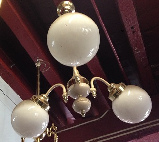 Three arm pendant light, white glass ball shades, brass and buff colour body, approx 500mm wide, $35 salvaged, recycled, demolition, reproduction, restoration, home renovation secondhand, used , original, old, reclaimed, heritage, antique, victorian, art nouveau edwardian, georgian, art deco