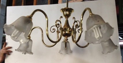 Five branch brass pendant lights x 3, white shades $150 each