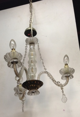 Delicate three pendant glass chandelier, barley twist glass arms $190