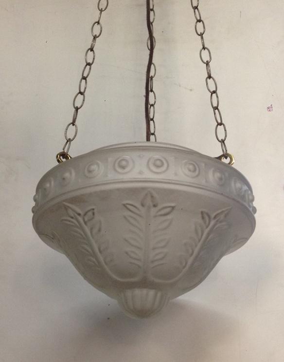 Three chain pendant lights, translucent embossed shades $150