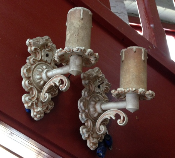 Pair of wall sconces, melting candle design, wall plate height 150mm $15 each salvaged, recycled, demolition, reproduction, restoration, home renovation secondhand, used , original, old, reclaimed, heritage, antique, victorian, art nouveau edwardian, georgian, art deco