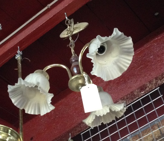 Three pendant light with fluted glass shades, brass chain and finish, approx width 380mm, $85 salvaged, recycled, demolition, reproduction, restoration, home renovation secondhand, used , original, old, reclaimed, heritage, antique, victorian, art nouveau edwardian, georgian, art deco