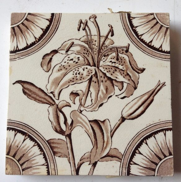 Original white and brown tiger lily fireplace tiles x 2, $27.50 each salvage recycled demolition, reproduction restoration, renovation, collectable, secondhand, used, original, old, reclaimed heritage, antique restored