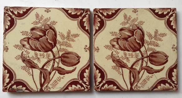 Original cream and brown tulip fireplace tiles x 2, $27.50 each salvaged recycled demolition, reproduction, restoration, renovation,collectable, secondhand, used , original, old, reclaimed, heritage, antique, victorian, edwardian, georgian art nouveau ceramic arts and crafts decorative aesthetic
