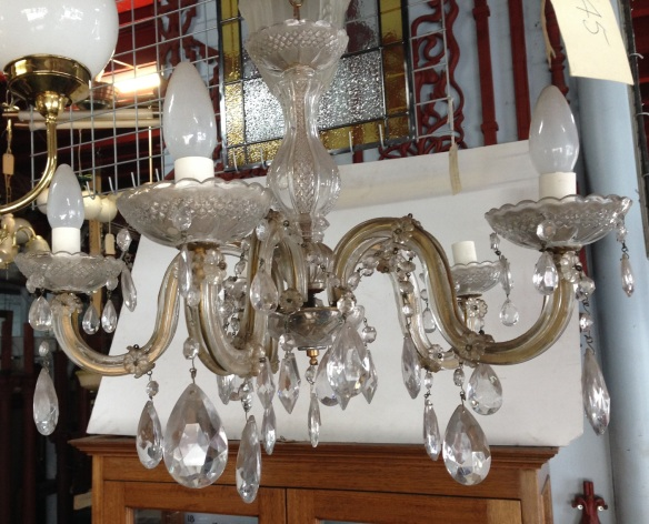 Original glass chandelier, five branch, approx. diam 500mm $245
