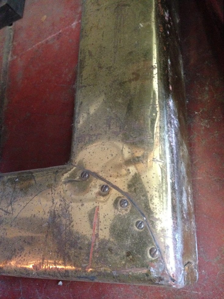 Fireplace fender/kerb. Brass sheet over timber, d380 x w1370mm $180 salvage recycled demolition, reproduction restoration, renovation, collectable, secondhand, used, original, old, reclaimed heritage, antique restored