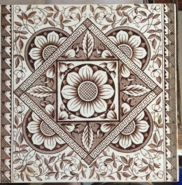 Original Victorian fireplace tiles, detailed decal, deep brown and white background, 2 available $28 each