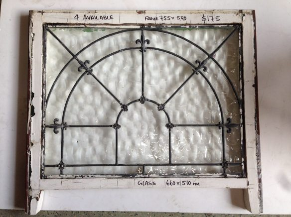 Clear ripple glass leadlight window, decorative lead detail and arch pattern frame w755 x h590mm; glass w660 x h510mm 4 available $1 salvage recycled demolition, reproduction restoration, renovation, collectable, secondhand, used, original, old, reclaimed heritage, antique175 each salvage recycled demolition, reproduction restoration, renovation, collectable, secondhand, used, original, old, reclaimed heritage, antique restored