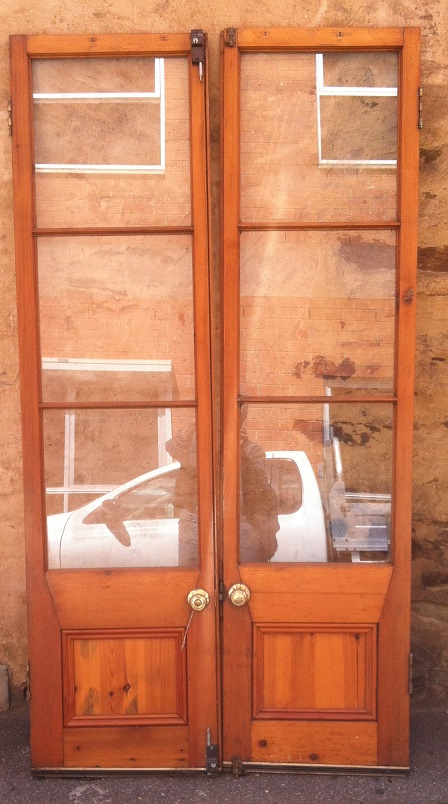 Timber and glass French doors, 5 sets. 1130 x 2165mm; 1130 x 2150mm; 1125 x 2175mm; 1130 x 2175mm; 1435 x 2135mm. $400 each set.