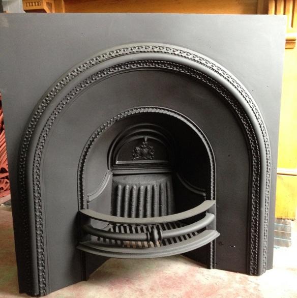 original Victorian arch cast iron fireplace insert, smaller frame w910 x h925mm $650