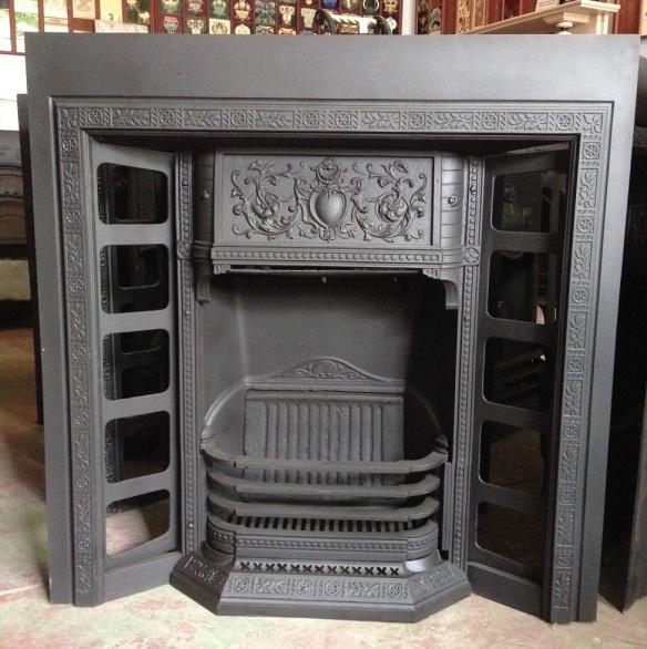original Victorian tiled fireplace cast iron insert $550