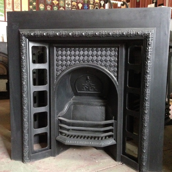 original Victorian fireplace insert, cast iron, smaller frame w965 x h965 $550 wood burner, open fire