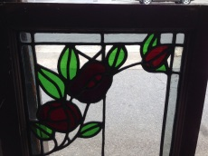 Original leadlight windows in frames, 2 available, red flowers and green leaves with mostly clear glass, frame 445 x 1040mm, glass 355 x 920mm $175 each