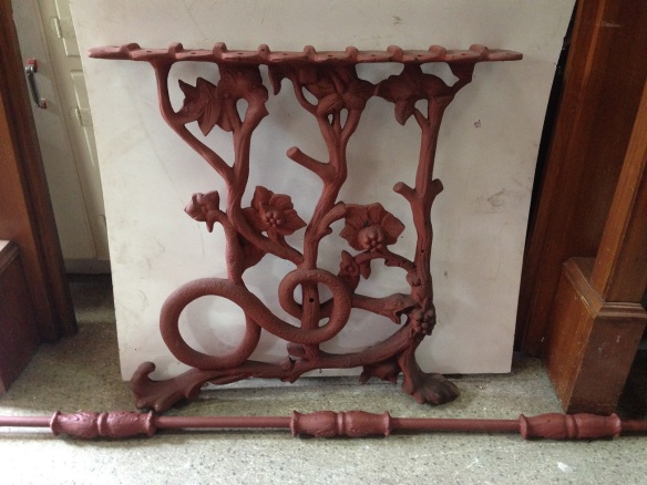 Snake motif with flowers table bases cast iron w630 x h640mm; with cast iron rod L1420mm $440 salvage recycled demolition, reproduction restoration, renovation, collectable, secondhand, used, original, old, reclaimed heritage, antique restored