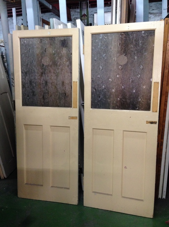 Door glass topped, two available at 760 x 1945mm, 1 available 755 x 1945mm, $90 each salvage recycled demolition, reproduction restoration, renovation, collectable, secondhand, used, original, old, reclaimed heritage, antique restored