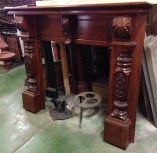 Original carved Victorian Kauri pine mantel, top shelf width 1640mm $800 timber mantle suround