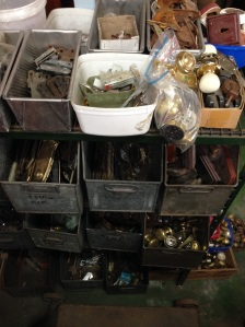 Hinges, handles, bolts, window latches, curtain spears and hooks etc