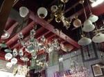 Decades of lighting; chandeliers, Art Deco, milk shades, fluoro...
