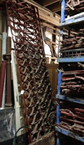 Hume strap iron fence panels approx. 3.5m lengths x2, $440 each